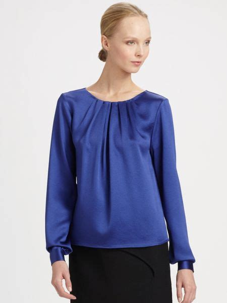 Carolina Blouse carolina herrera textured charmeuse blouse in blue lyst