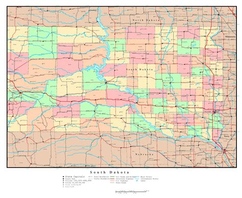 dakota in usa map large detailed administrative map of south dakota with