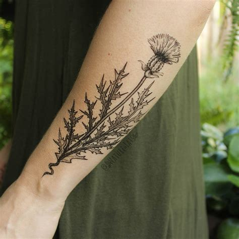 temporary tattoo henna style purple thistle flower temporary black line drawing
