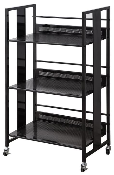 coaster bookcases contemporary black metal bookcase with