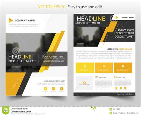 Yellow Black Abstract Brochure Annual Report Flyer Design Template Vector Leaflet Cover Presentation Flyer Template