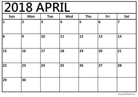printable april 2018 calendar towncalendars com