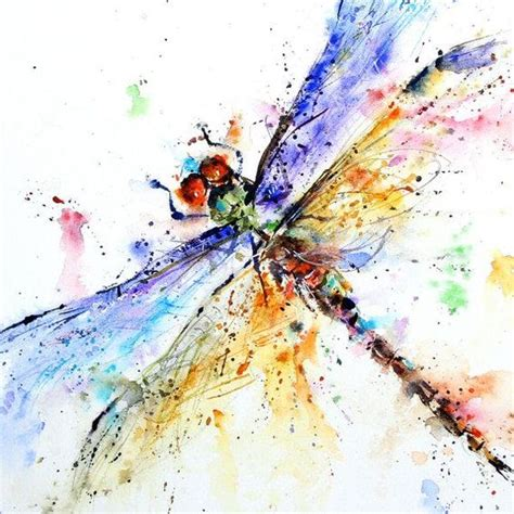 watercolor tattoo orange county blue and orange winged watercolor dragonfly design