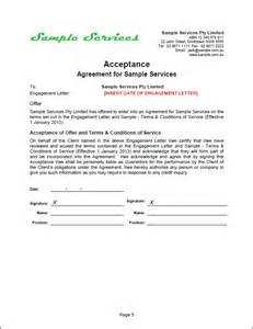 Agreement Acceptance Letter Format Agreement Letter Sle Free Printable Documents