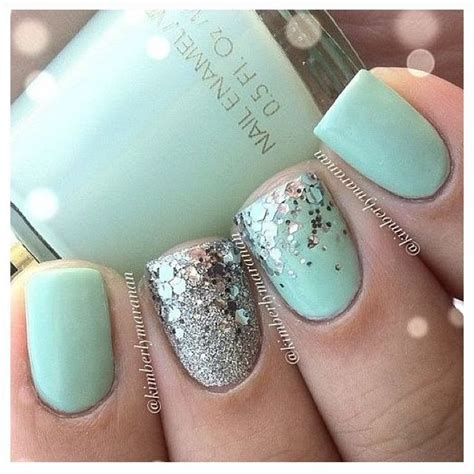 mint color nails mint green nails with silver glitter hair and nails