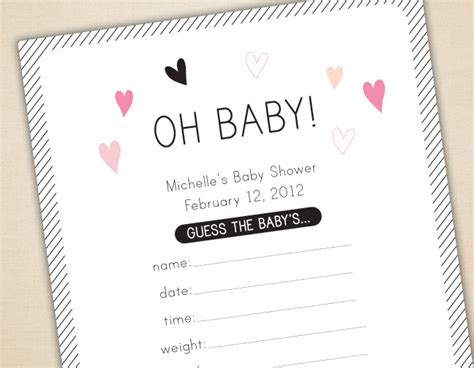 Baby Shower Guessing Template by Oh Baby Baby Shower Cards And Sign Guess Weight