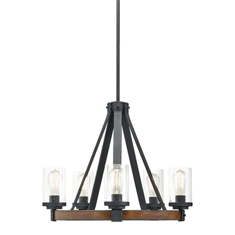 Lowes Hanging Light Fixtures Shop Kichler Barrington 24 02 In 5 Light Distressed Black And Wood Rustic Clear Glass Candle