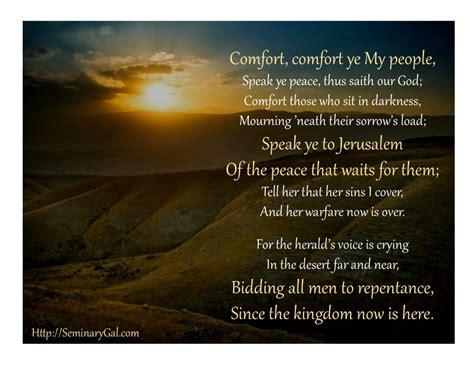 comfort my people comfort comfort o my people advent 2 2014 seminary gal