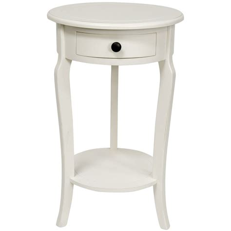 round bedroom table small round bedside table round end table w drawer white