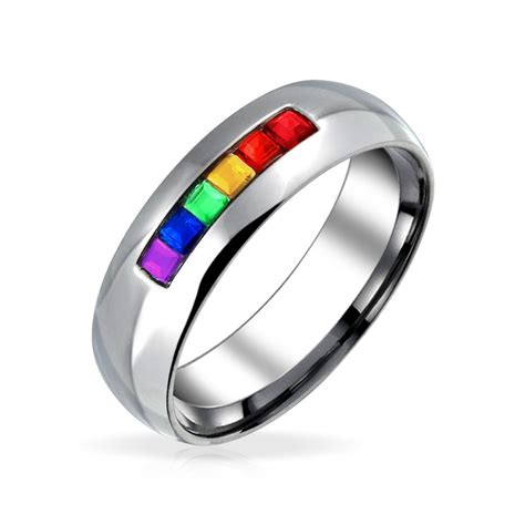 stainless steel channel set pride rainbow band ring