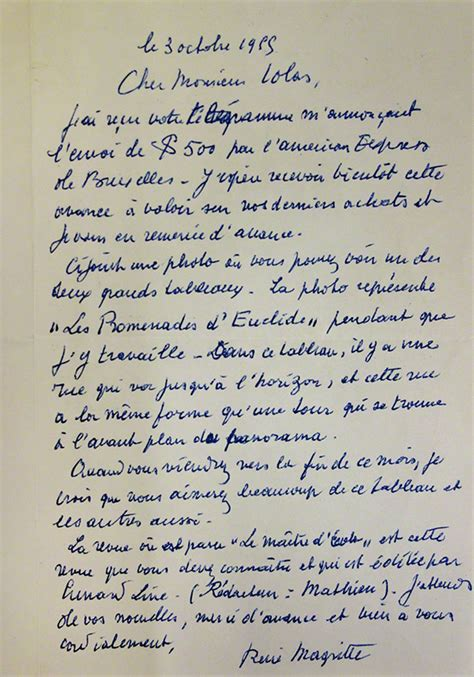 Response Letter To Getty Images Letters By Ren 233 Magritte Join Research Institute S Collection The Getty Iris