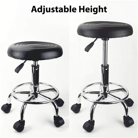 black adjustable rolling stool salon chair