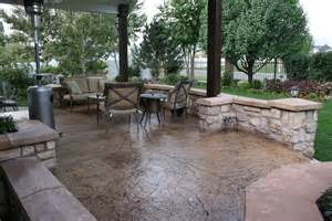Cement Backyard Ideas Stamped Concrete Patio Designs Outdoor Covered Patio