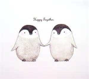 cute penguin love illustration print grey black white by