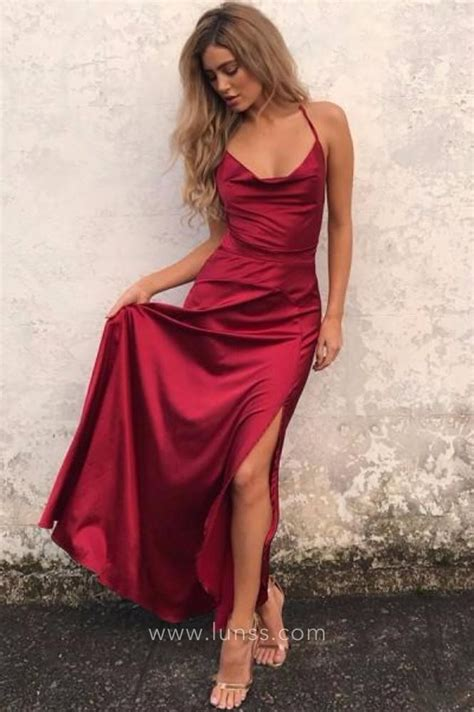 Simple Slit by Simple Ruby Satin Side Slit Scoop Neck Spaghetti