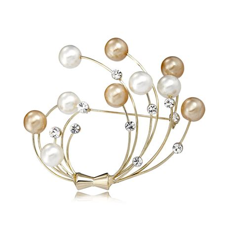 25033 White Pearl Brooch Top pearl brooch pins rhinestone pearl brooches gold