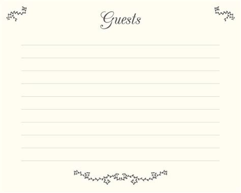 Wedding Guest Book Pages Printable File Guests Template Printable Guest Book Template