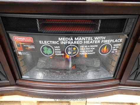 electric fireplace heater costco media mantel infrared fireplace