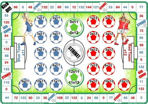 multiplication and division printable board games football 11 12 times tables games let me learn