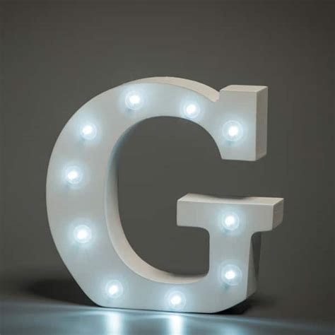 alphabet letter g up in lights