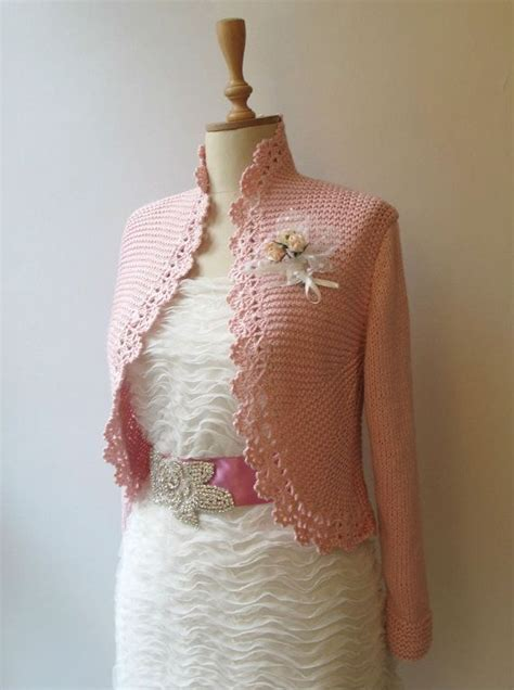 wedding bolero knitting pattern blush pink knitted bridal shrug cardigan by