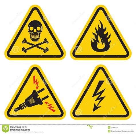 imagenes de simbolos que representen peligro sistema de la se 241 al de peligro ilustraci 243 n del vector