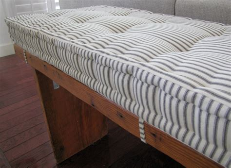 bench pad custom bench cushion black ticking stripe window seat