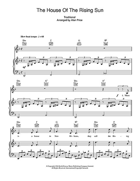 house of the rising sun music sheet the house of the rising sun sheet music by the animals piano vocal guitar right