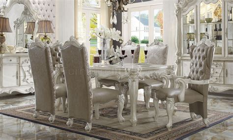 versailles dining table white  acme