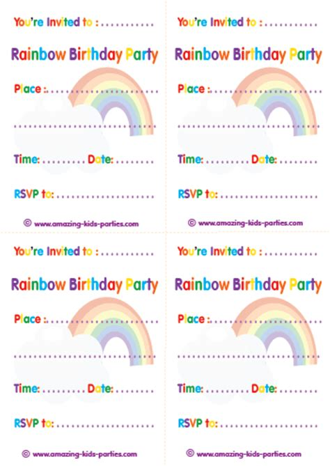 free printable invitation rainbow 8 best images of rainbow birthday party invitations
