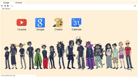 chrome themes homestuck homestuck characters chrome theme themebeta