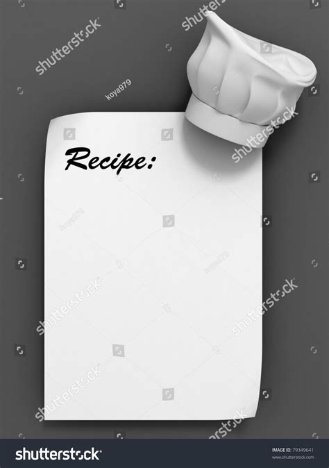 recipe template chef hat on the blank paper sheet stock