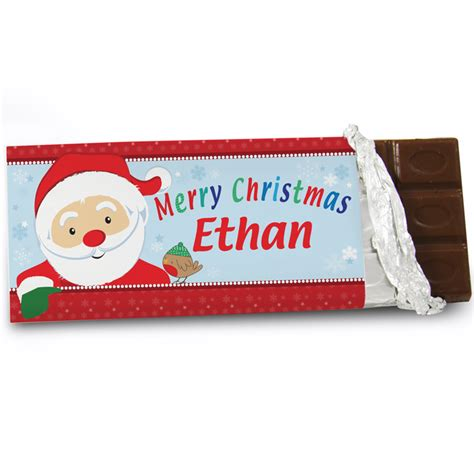 christmas personalised chocolate bar santa claus gifts