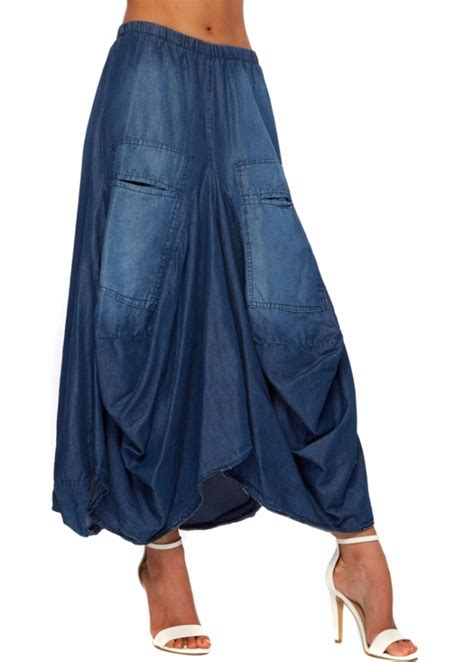 denim skirt layered asymmetric maxi skirt