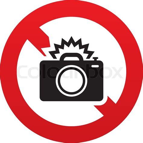 no photo camera sign icon photo flash symbol red
