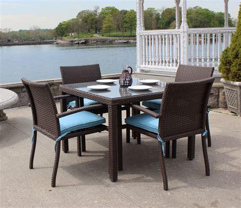 wicker patio dining set   brown