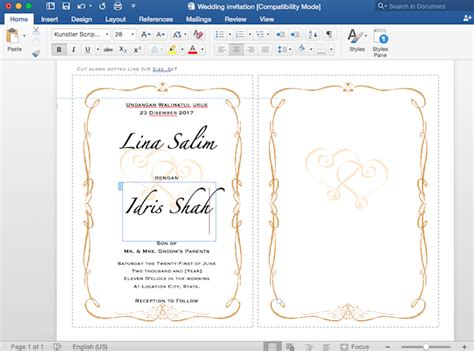 tutorial edit gambar kahwin kad kahwin diy buat template kad kahwin anda sendiri