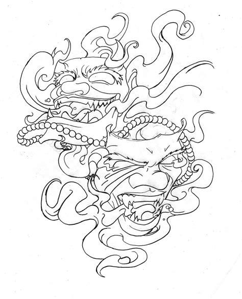 hannya mask tattoo outline collection of 25 oni mask outline tattoo design