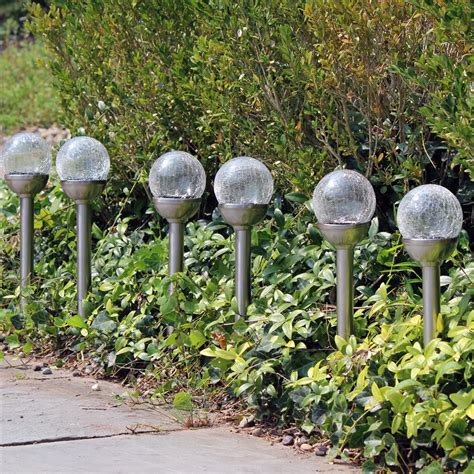 color changing pathway lights crackle glass solar color changing white led stainless