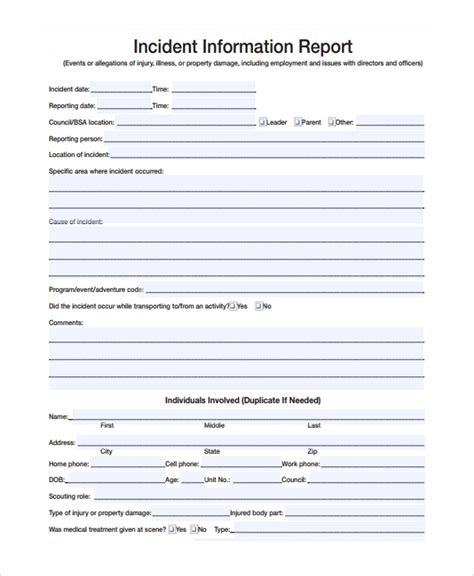 incident report form template sle incident reporting form 9 free documents