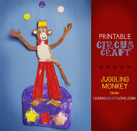 circus crafts for printable circus craft juggling monkey