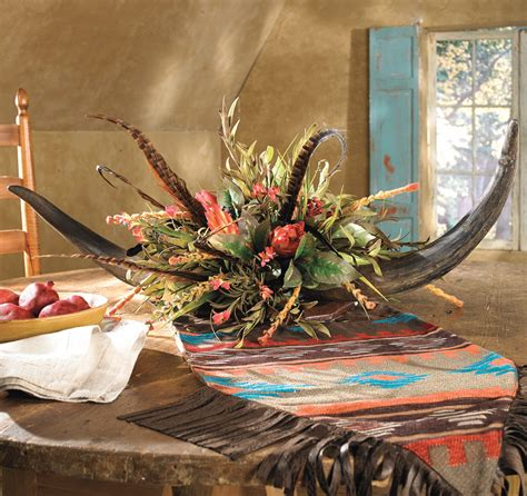 Western Cowboy Home Decor Horn Floral Arrangement