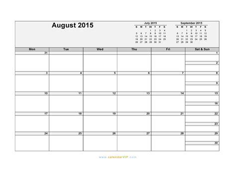 Calendar 2015 August Template August 2015 Calendar Blank Printable Calendar Template