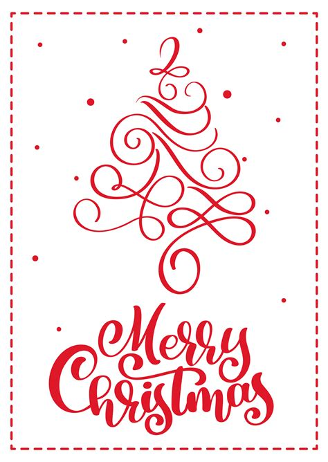 christmas scandinavian greeting card  merry christmas calligraphy lettering text hand drawn