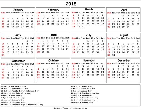 2015 canadian yearly calendar yearly calendar template