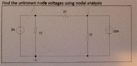 nodal analysis voltage across resistor find the unknown node voltage using nodal analysis chegg
