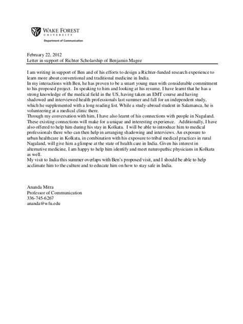 Research Grant Letter Of Support Richter Research Grant And Project Outline