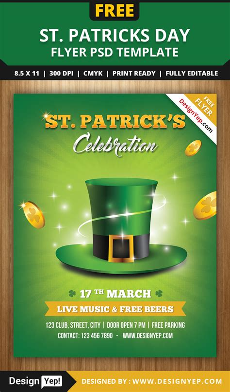 St S Day Photo Card Template by Free St Patricks Day Flyer Template Psd Designyep