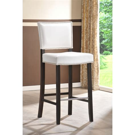 modern white bar aries white modern bar stool with nail head trim see white