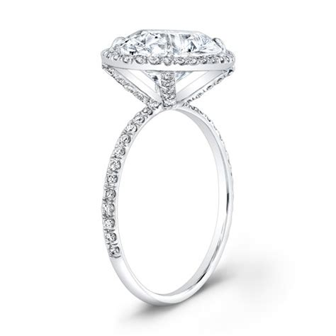 14kt white gold thin micro pave halo engagement